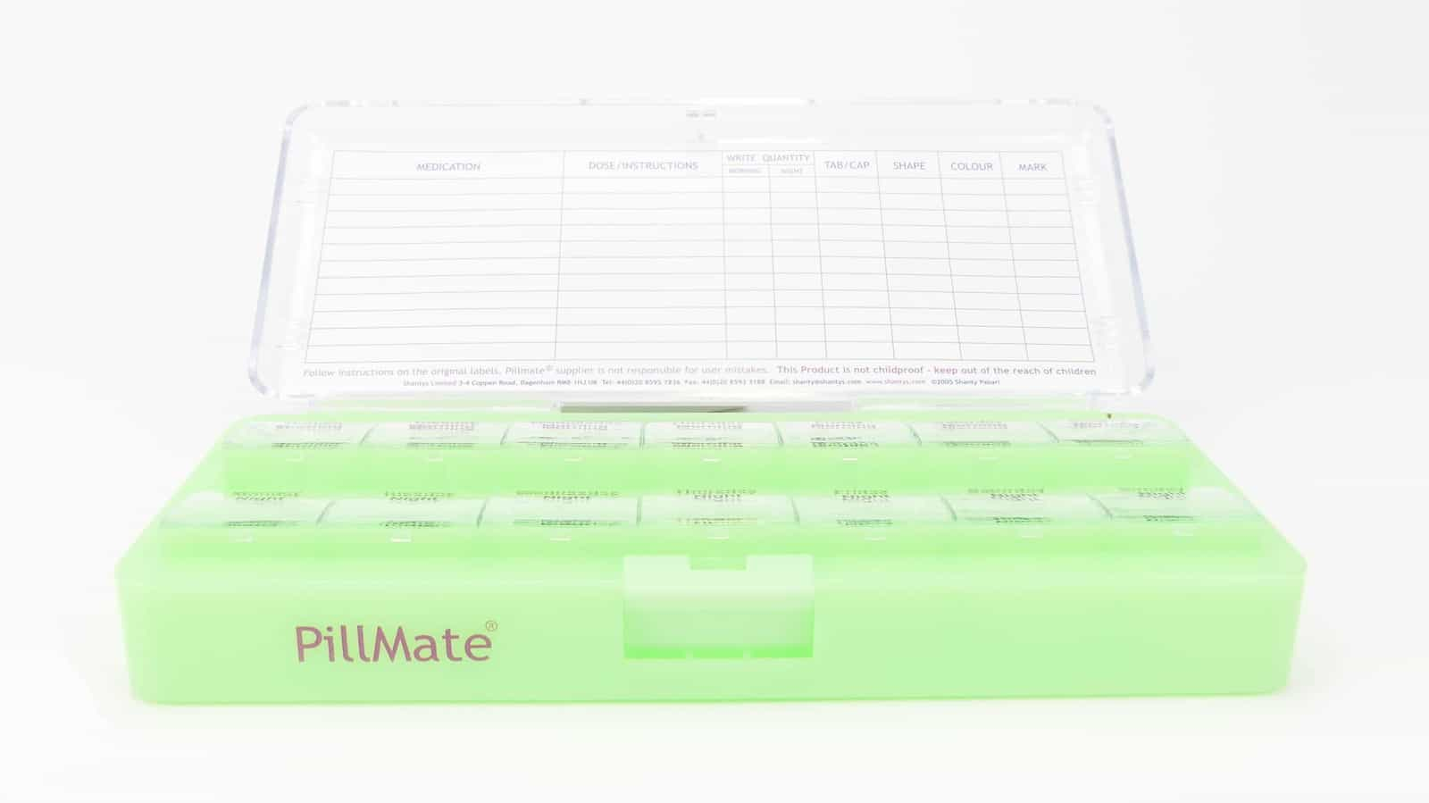 Size Twice Daily Pill Box Weekly Organiser Day and Night